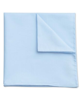 Sky blue classic plain cotton pocket square