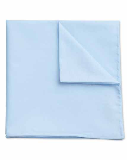 Sky blue classic plain cotton pocket square