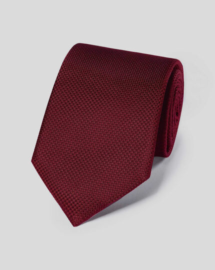 Stain Resistant Silk Textured Plain Classic Tie - Burgundy