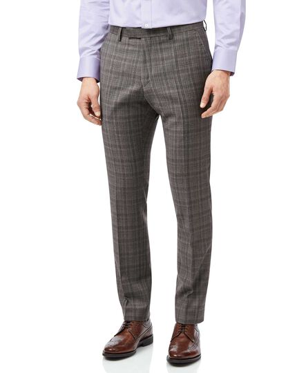 Grey and lilac Prince of Wales check slim fit Italian suit trouser