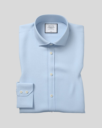 Extra slim fit cutaway non-iron poplin sky blue shirt