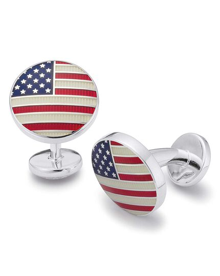 US flag round cufflinks
