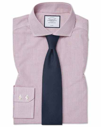 Classic fit non-iron Tyrwhitt Cool poplin check berry shirt