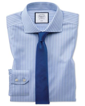 Extra slim fit non-iron cotton stretch Oxford sky blue and white check shirt