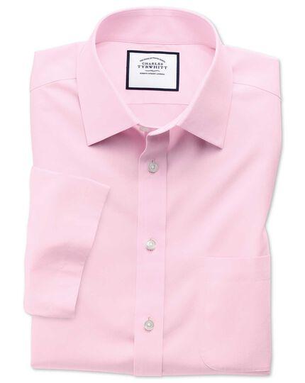 Slim fit non-iron poplin short sleeve pink shirt