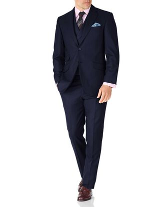 Navy classic fit British serge luxury suit