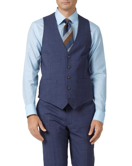 Airforce blue adjustable fit Panama check business suit waistcoat