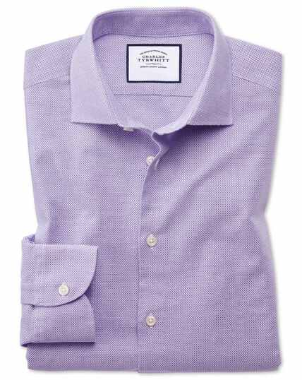 Slim fit business casual leno texture lilac shirt
