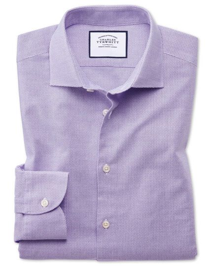 Extra slim fit business casual leno texture lilac shirt