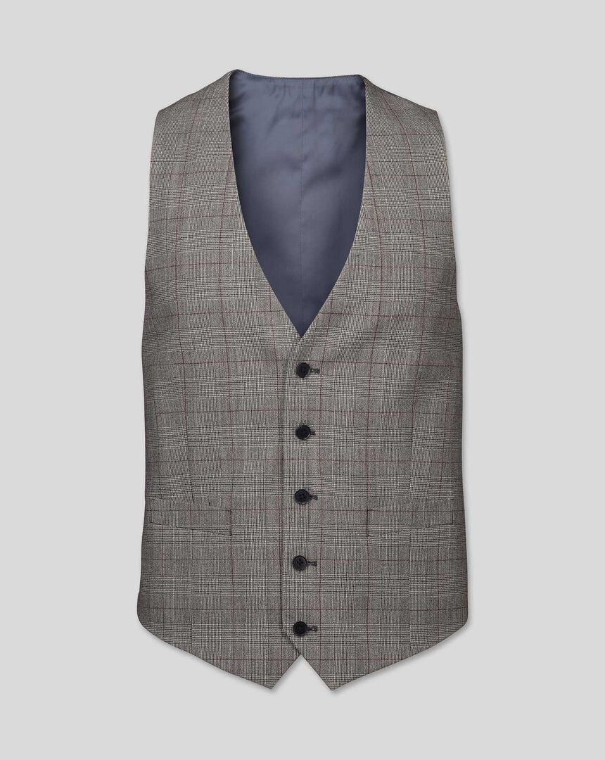 Prince of Wales Check Suit Vest - Grey & Burgundy