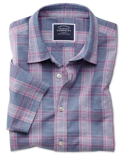 Classic fit cotton linen short sleeve blue and purple check shirt