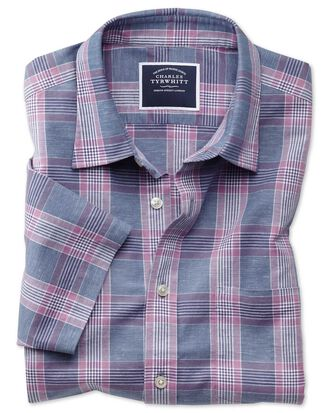 Slim fit blue and purple check cotton linen short sleeve shirt