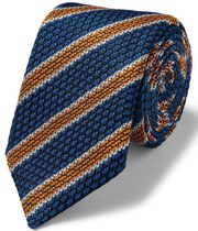 Royal blue and orange stripe luxury Grenadine Italian tie