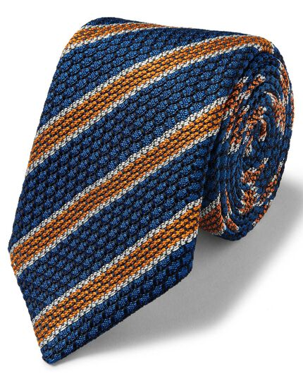Royal and orange luxury Italian Grenadine stripe tie