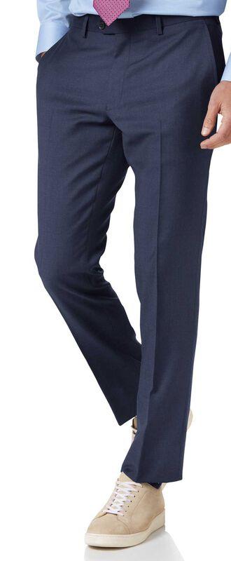 Slim Fit Businessanzug-Hose aus Twill in Mittelblau