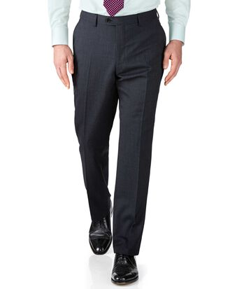 Navy slim fit end-on-end business suit pants