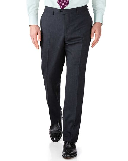 Navy slim fit end-on-end business suit trousers