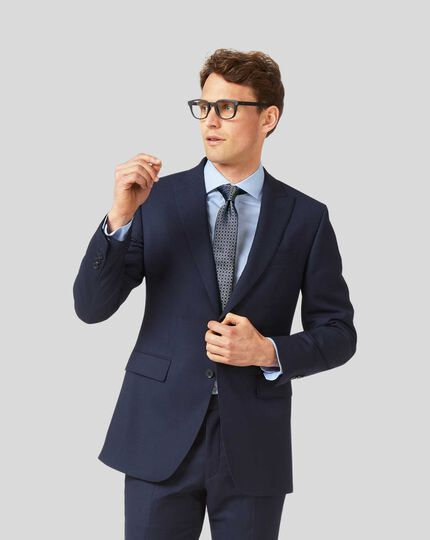 Peak Lapel Birdseye Travel Suit Jacket - Ink Blue