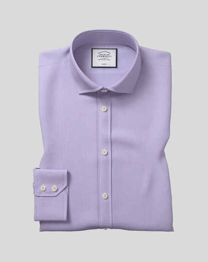 Spread Collar Non-Iron Tyrwhitt Cool Poplin Shirt - Lilac