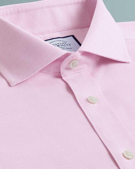 Chemise rose en oxford de coton stretch super slim fit sans repassage