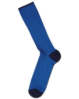 Royal blue cotton rib socks