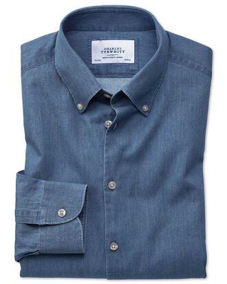 Slim fit button-down business casual indigo mid blue shirt