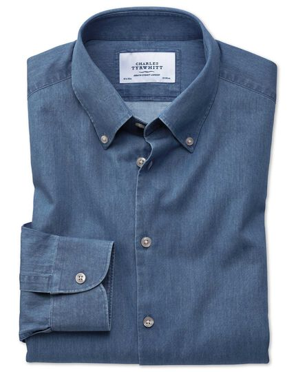 Slim fit button-down business casual indigo mid blue shirt
