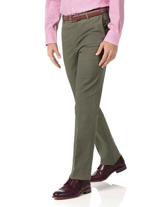 Pantalon olive slim fit en tissu stretch sans repassage