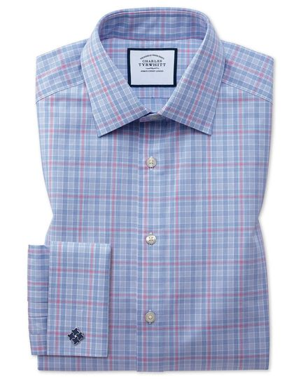 Slim fit blue and pink Prince of Wales check shirt