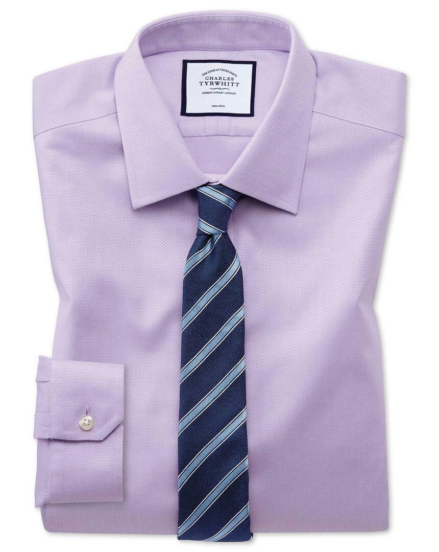 Super slim fit non-iron lilac triangle weave shirt