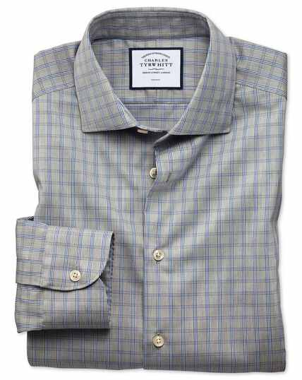 Bügelfreies Slim Fit Business-Casual-Hemd mit Windowpane-Karos in Grau