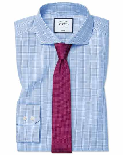 Extra slim fit cutaway collar non-iron Prince of Wales check sky blue shirt
