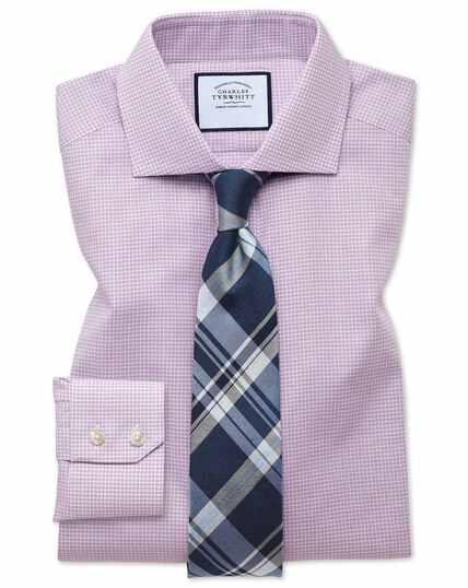 Roze, pied-de-poule overhemd met slanke pasvorm met cut-away kraag