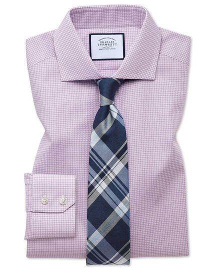 Slim fit spread collar textured puppytooth pink shirt