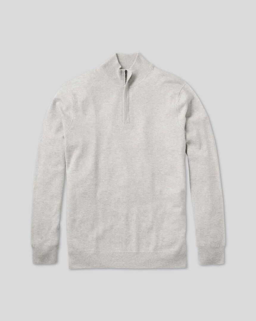 Merino Cashmere Zip Neck Sweater - Light Grey