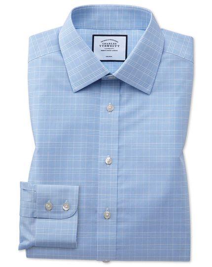 Bügelfreies Extra Slim Fit Hemd mit Prince of Wales Karos in Himmelblau