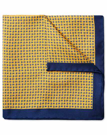 Bright yellow mini paisley print pocket square
