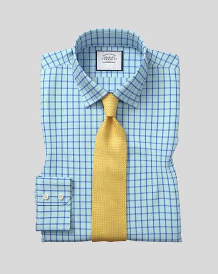 Popeline-Hemd aus Karos mit Kent Kragen - Blaugrün