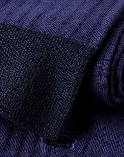 Rippstrick-Baumwollsocken mit England Rugby-Motiv - Marineblau