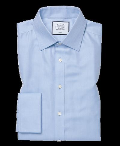 Classic fit non-iron herringbone sky blue shirt