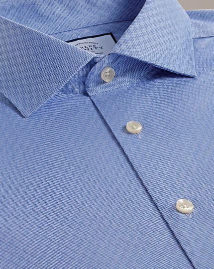 Slim fit business casual mid-blue square pattern shirt