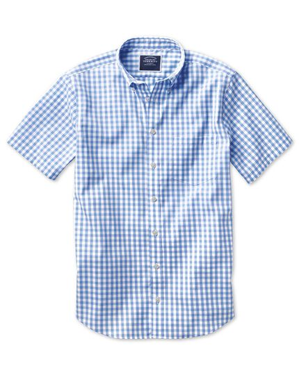 Slim fit non-iron sky blue gingham short sleeve shirt