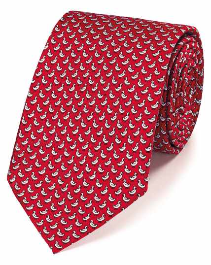 Red duck print silk classic tie