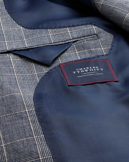 Slim fit blue Prince of Wales check linen mix jacket
