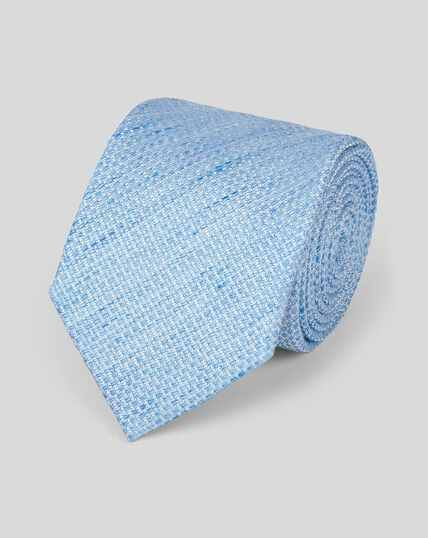 Cravate classique unie lin et soie - Bleu ciel