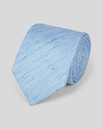 Linen Silk Plain Classic Tie - Sky