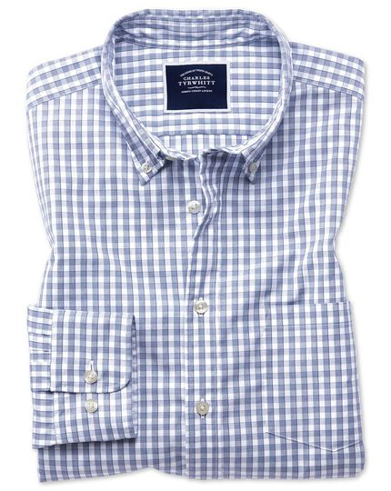 Gingham Soft Washed Non-Iron Tyrwhitt Cool Shirt - Navy