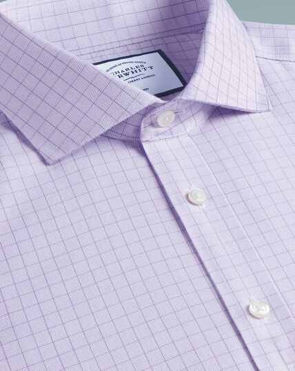 Spread Collar Non-Iron Soft Twill Check Shirt - Lilac