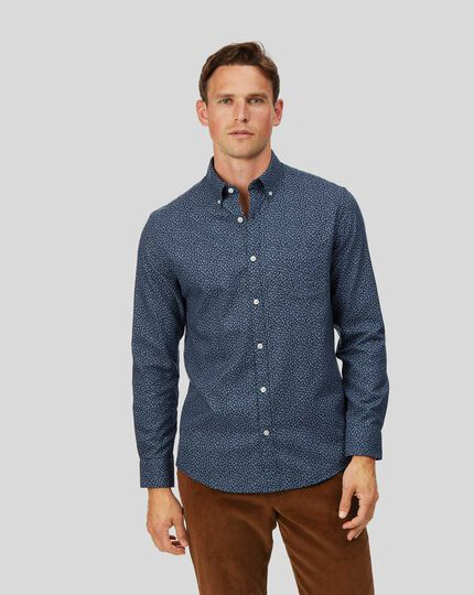 Extra slim fit soft washed non-iron twill navy leaf print shirt