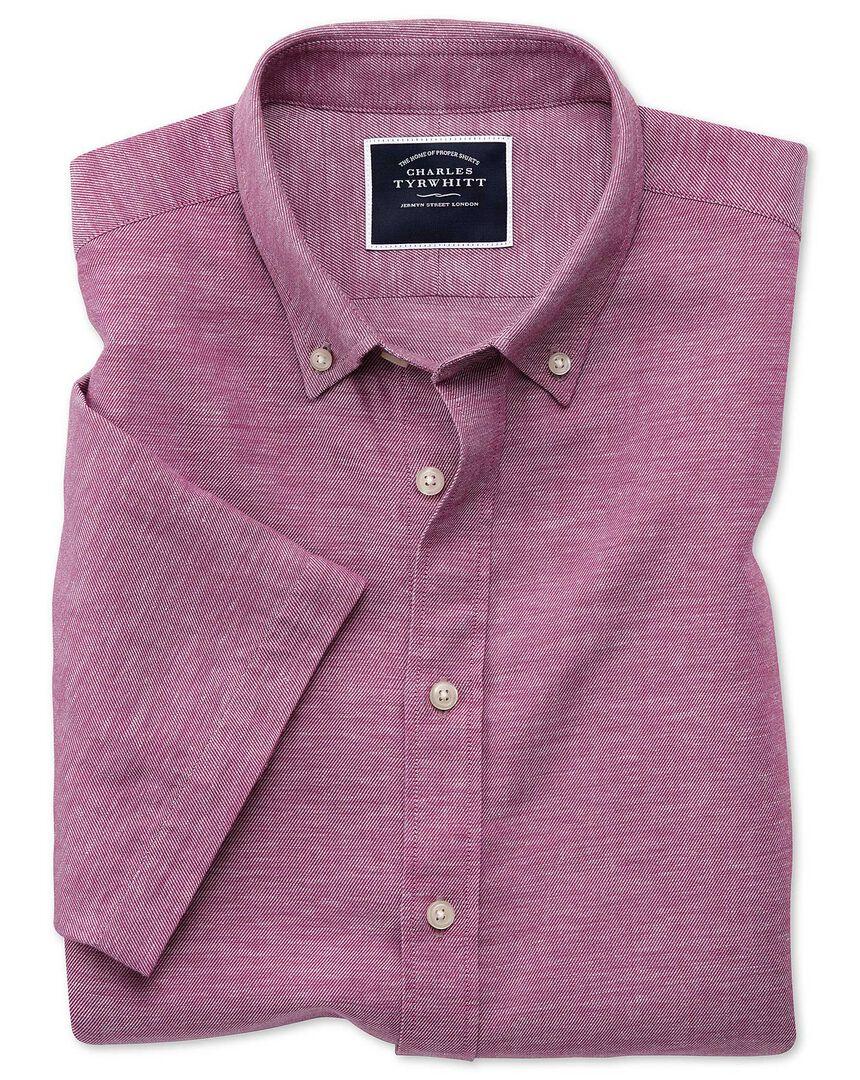 Classic fit dark pink cotton linen twill short sleeve shirt